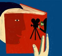 An illustration of a figure reading a book that is also a movie